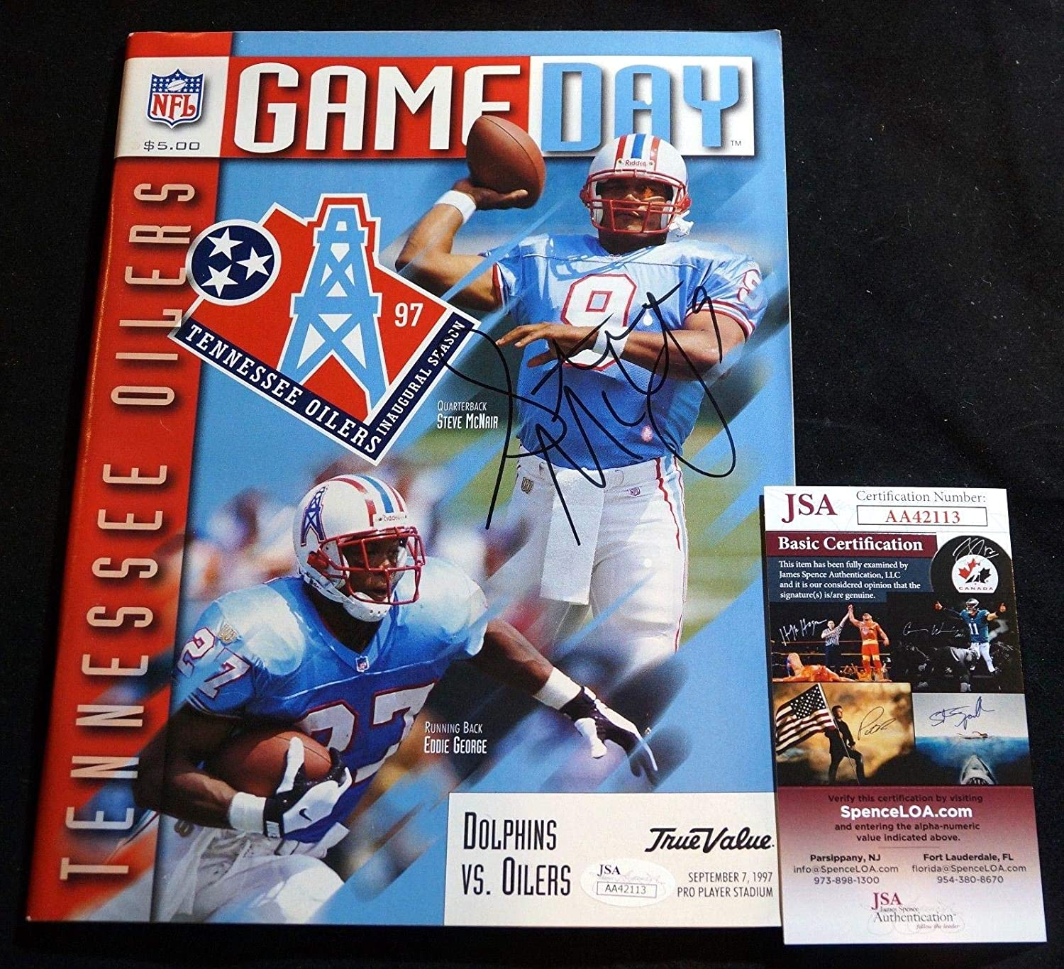 best sneakers 9cef2 cc25e STEVE McNAIR Signed 1997 Oilers Titans Dolphins Game Program ...