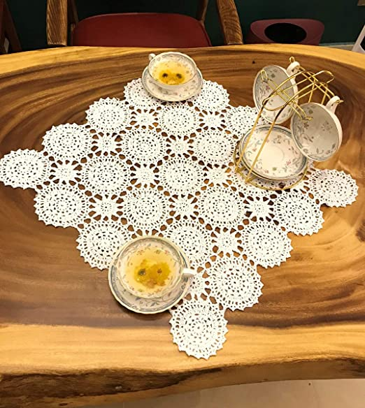 Cotton Table Cloth Home Decor Table Cover Handmade Crochet Lace Doily White