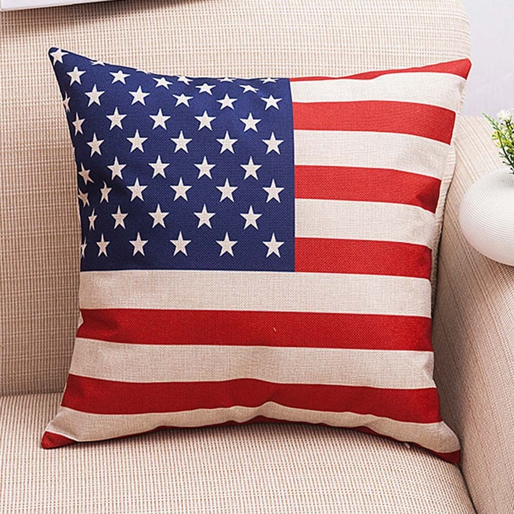 Amazon Com Vintage Stripe American Usa Flag Square Burlap Light Linen Design Throw Pillow Case Shell Cushion Covers 18 X 18 Inch Home Decor For Living Room Car Seat Study Home Kitchen
