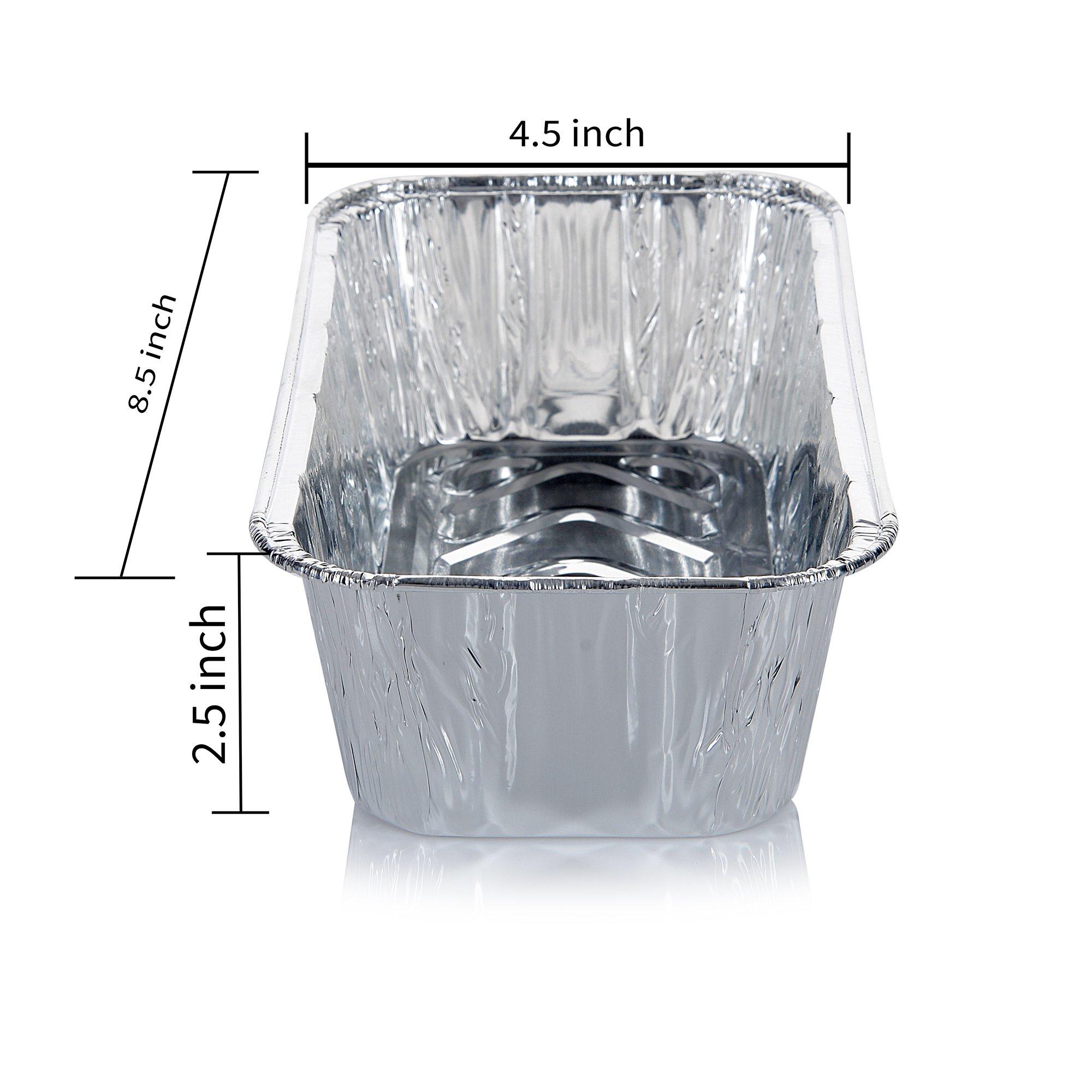 DOBI (50 Pack) Loaf Pans - Disposable Aluminum Foil 2Lb Bread Tins, Standard Size - 8.5'' X 4.5'' X 2.5'' by DOBI (Image #3)