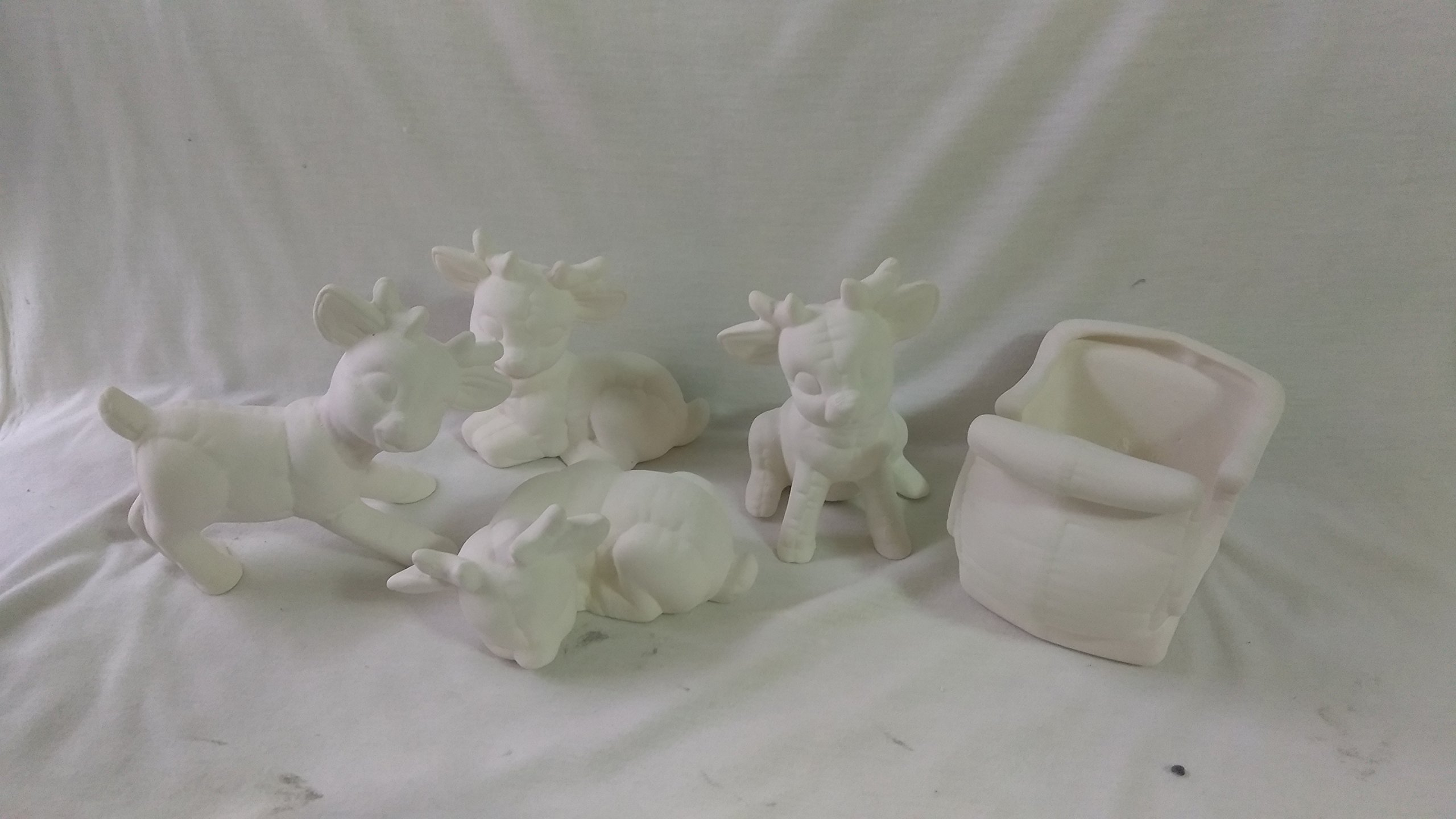 Softy Sleigh 5'' x 3'' and 4 Miniature Reindeer 3'' to 4'' Ceramic Bisque, Ready to Paint
