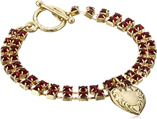 """product image for 1928 Jewelry Gold-Tone Two-Row Red Crystal Heart Charm Bracelet, 7.5"""""""