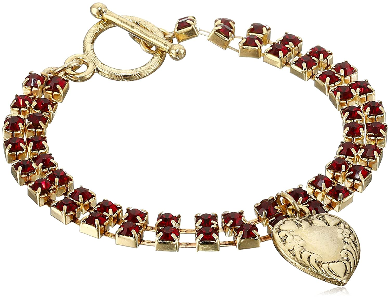 1928 Jewelry Gold-Tone Two-Row Red Crystal Heart Charm Bracelet, 7.5""