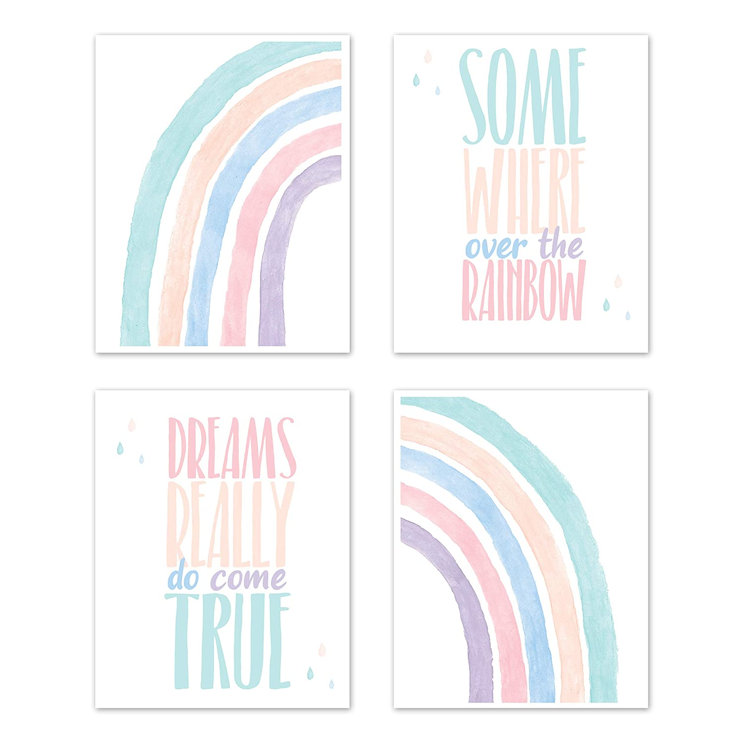 Sweet Jojo Designs Pastel Rainbow Wall Art Prints Room Decor for Baby, Nursery, and Kids - Set of 4 - Blush Pink, Purple, Teal, Blue and White Somewhere Over The Rainbow