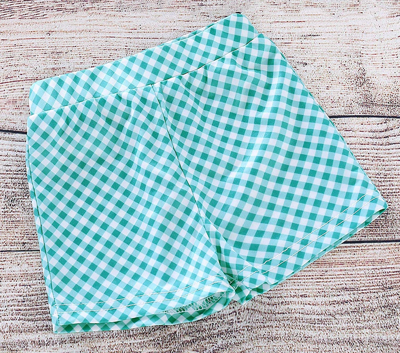 Girls Summer Suit Straps Ruffled Bow Tie Vest Tops Twill Plaid Shorts Suit Beachwear