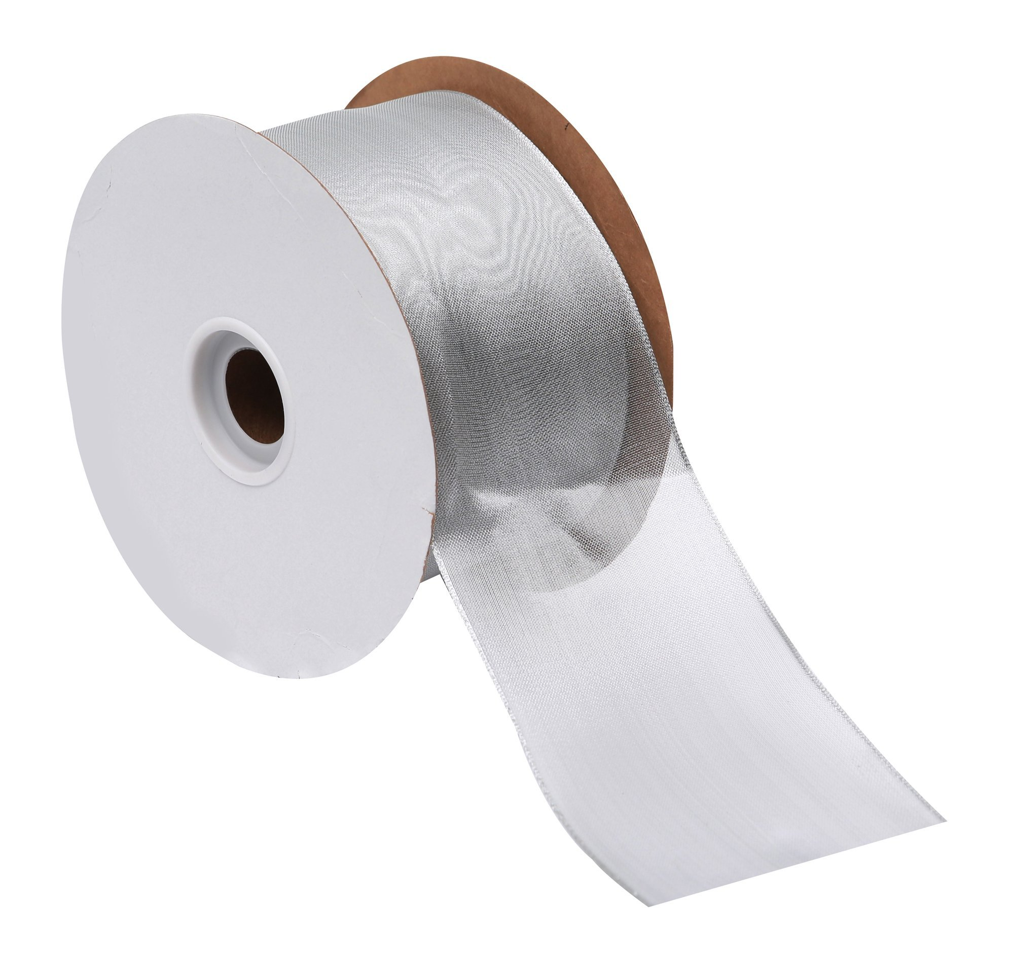 Offray Wired Edge Metallic Sheer Ribbon, 3'' Wide, 50 Yards, Silver