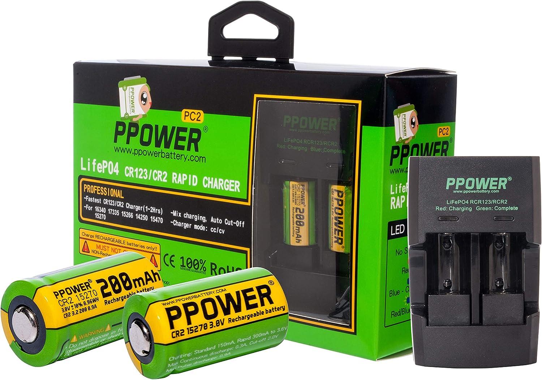 2X PPOWER 3V Véritable Capacité 200mAh CR2 15270 15266