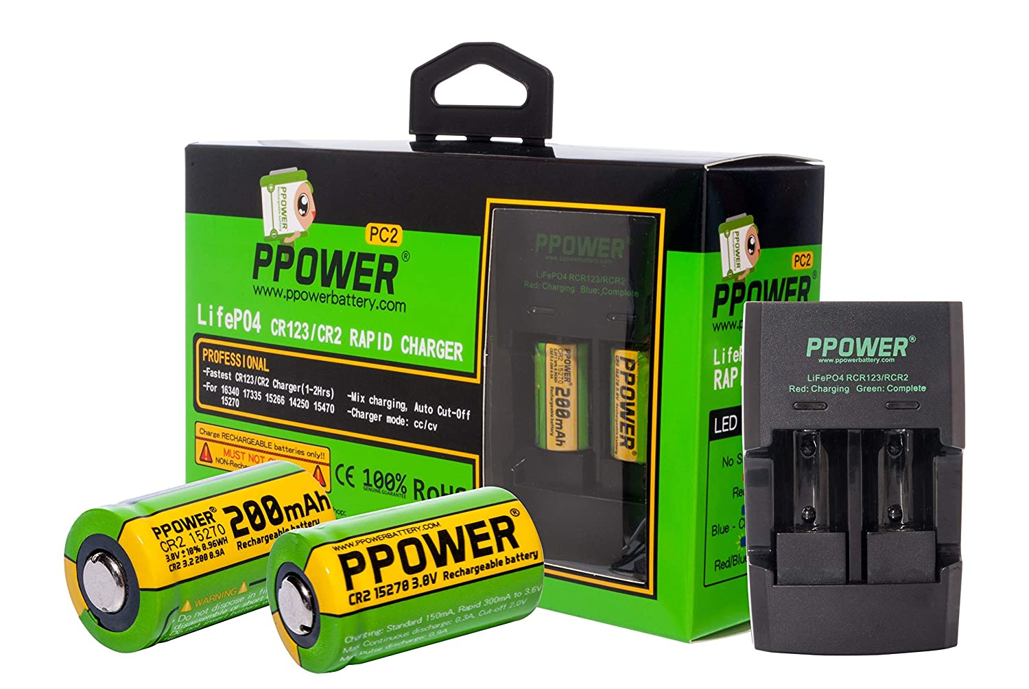 2x Ppower 3v Real Capacity 200 Mah Cr2 15270 15266 12v Nicad Battery Charger 200ma H Rechargeable Lifepo4 Batteries Rapid For Lithium Car