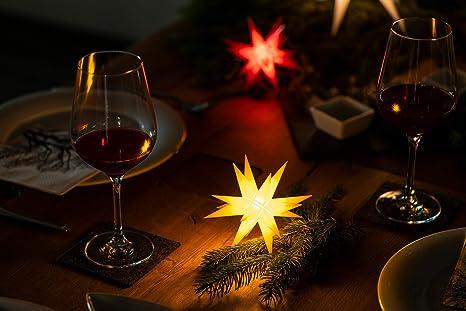 Novaliv Weihnachtsstern 3D LED Weiss 18 Zack 25 cm Kunststoffstern Dekostern Fensterdeko Weihnachtsdeko Innen Au/ßen Stern beleuchtet