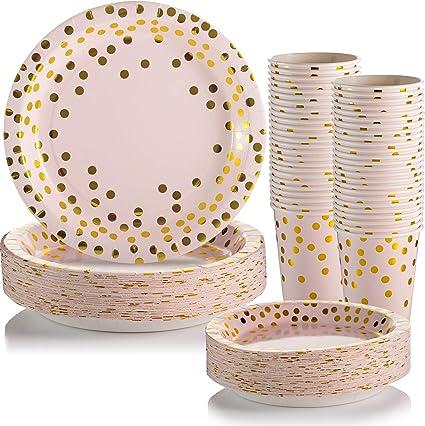 Amazon.com: Platos de papel desechables y tazas para fiestas ...