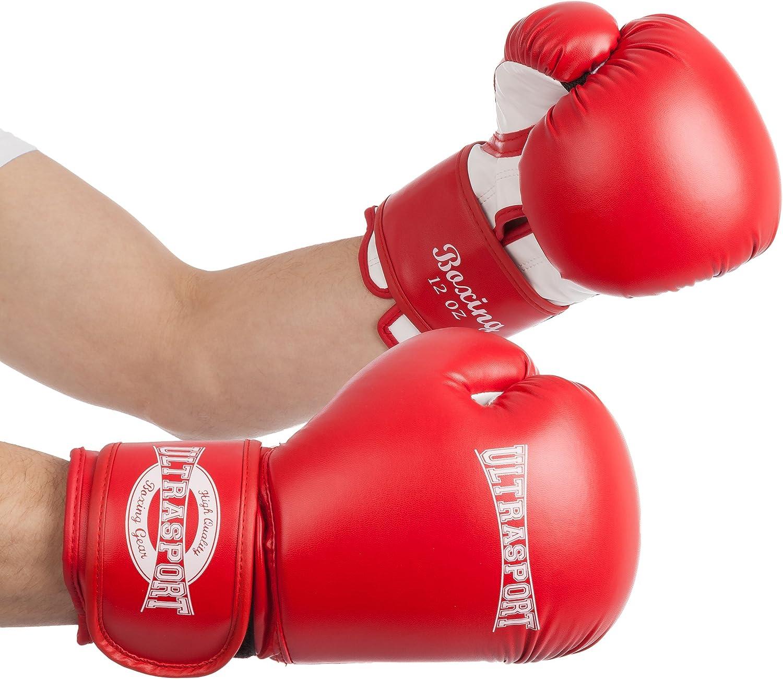 Ultrasport 10//12 // 14//16 onzas Guantes de Boxeo de PU Serie Boxing Gear Color Rojo//Blanco