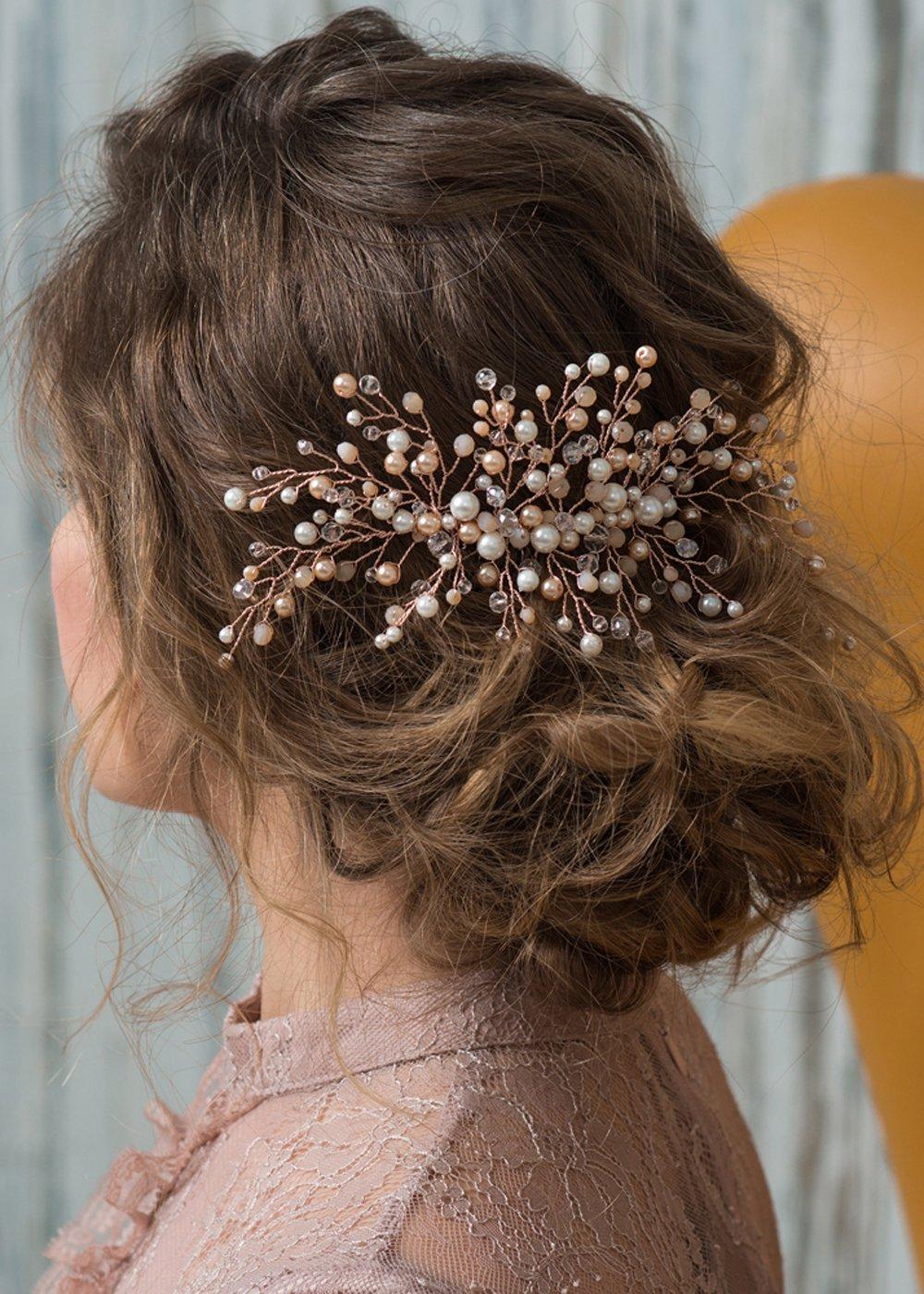 Kercisbeauty Wedding Bridal Bridesmaids Flower Girl Pink Champagne Rose Gold Beads Combs Headband Bridal Hair Comb Headpiece Long Curly Bun Hair Accessories,Wedding Hair Piece Vintage Hair Comb