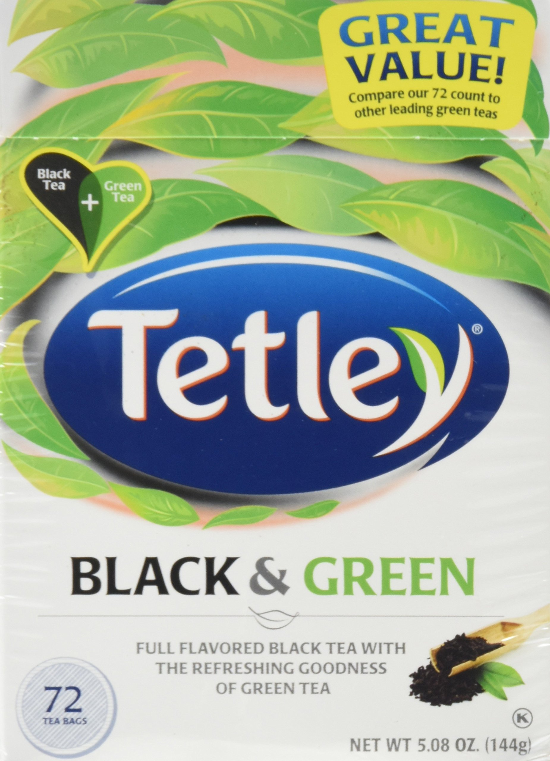 Tetley, Black & Green Tea Bags, 72 Count, 5.08oz Box (Pack of 3)