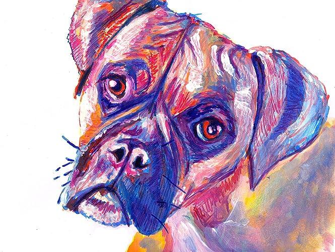 Amazon.com: Colorful Brindle Boxer Dog Wall Art, Gift For Boxer Dog ...