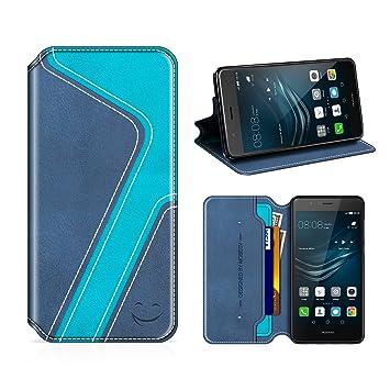MOBESV Smiley Funda Cartera Huawei P9 Lite, Funda Cuero Movil Huawei P9 Lite Carcasa Case con Billetera/Soporte para Huawei P9 Lite - Azul Oscuro/Aqua