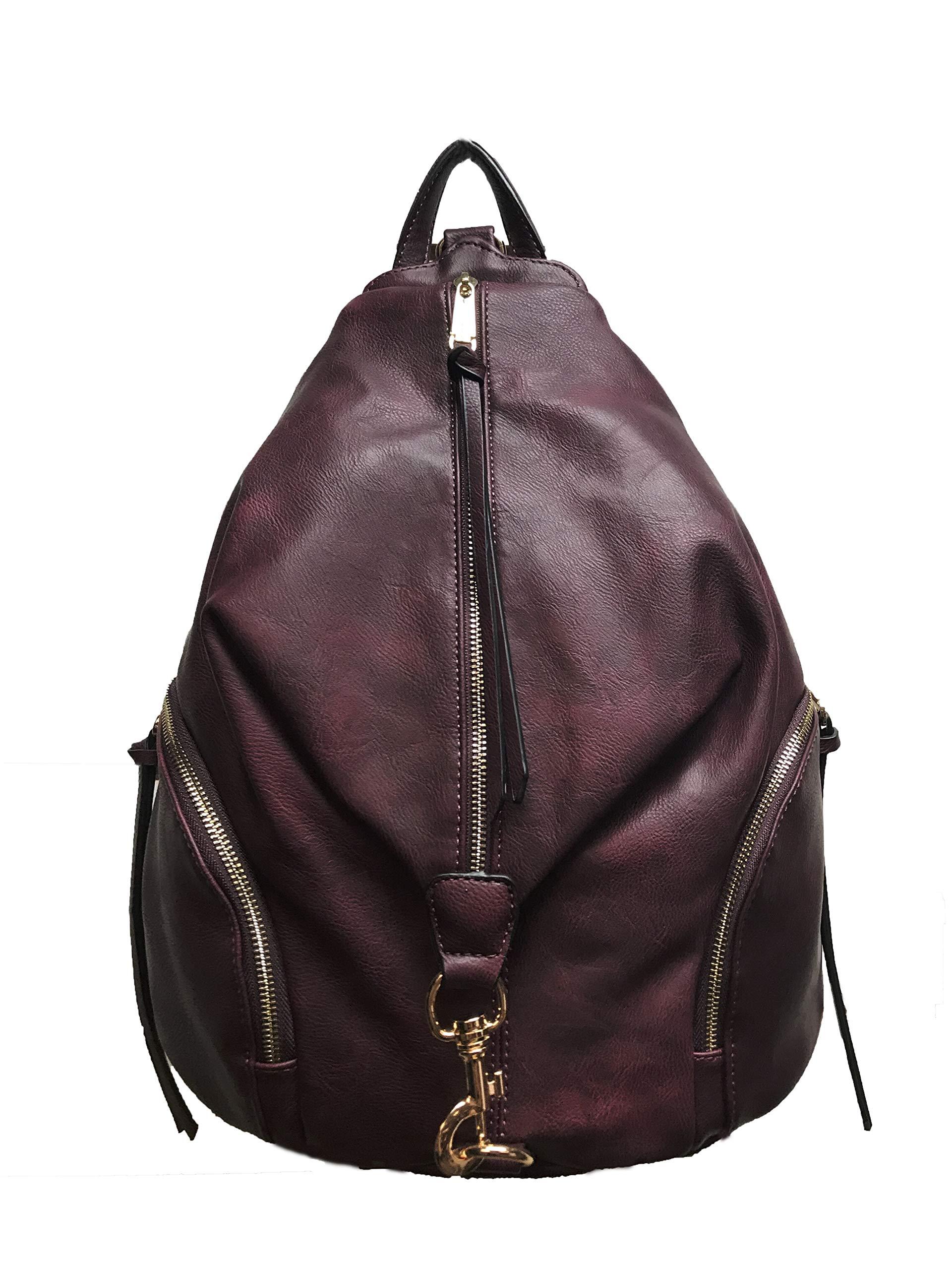 Diophy PU Leather Fashion Backpack with Zipper Pockets on Both Side Womens Purse Handbag AB-052