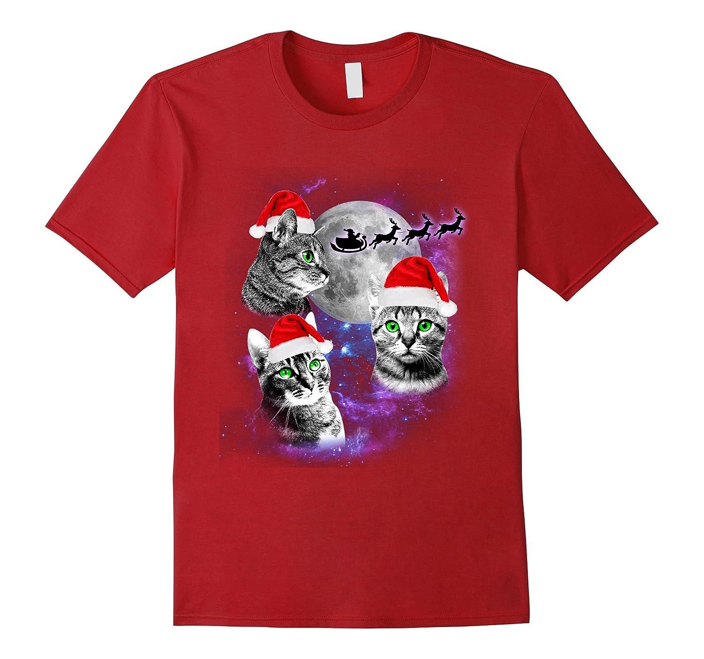 714fbd5b25d Three Cats Moon T-shirt Funny Christmas Santa Three Kitten-ANZ