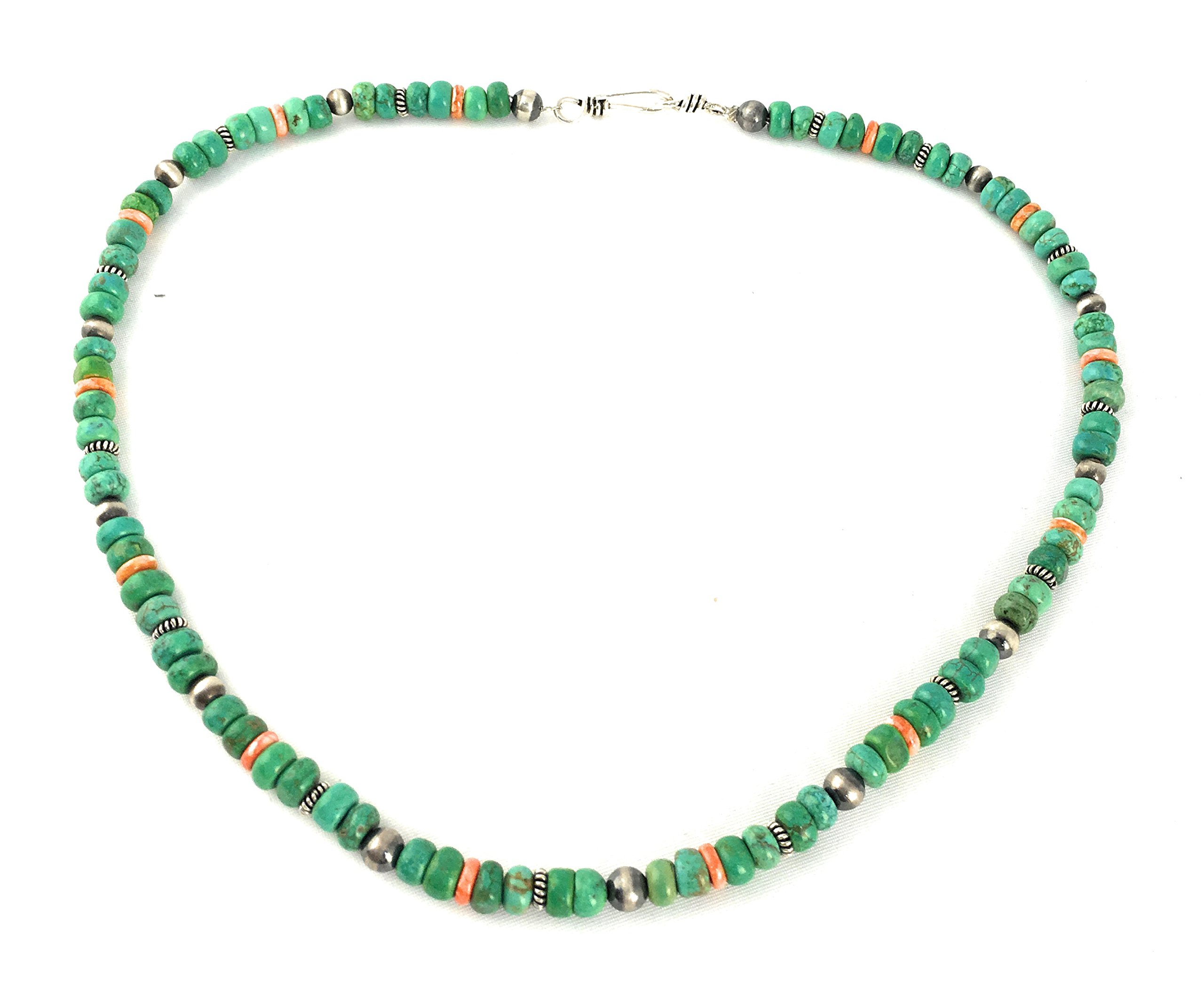 Masha Storewide Sale ! Sterling Silver Necklace By Spiny Oyster, Green Turquoise, Made in USA - Exclusive Southwestern Handmade Jewelry, 18'' in Length Gift