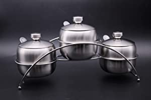 Stainless Steel Condiment Pot Spice Container with Rack