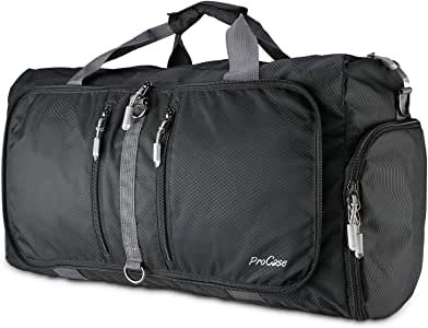 ProCase Foldable Travel Duffel Bag, 40L Waterproof Gym Sports Bag Lightweight Storage Carry Duffle Tote Bag for Luggage Gym Sports – Black