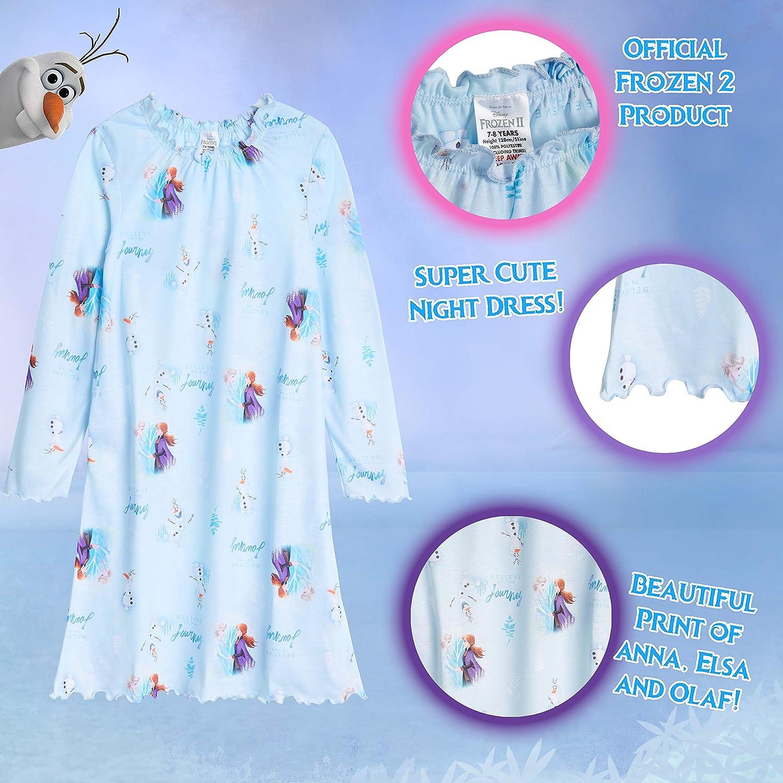 Vestido Ni/ña para Dormir con Las Princesas Anna y Elsa Regalos para Ni/ñas 3-12 A/ños Disney Frozen 2 Pijama Ni/ña Camison Ni/ña de Manga Larga