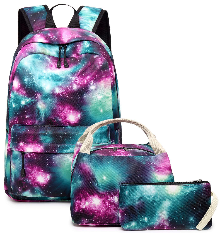 School Backpack Galaxy Teens Girls Boys Kids School Bags Bookbag with Laptop Sleeve (Galaxy Green-0033) by BLUBOON
