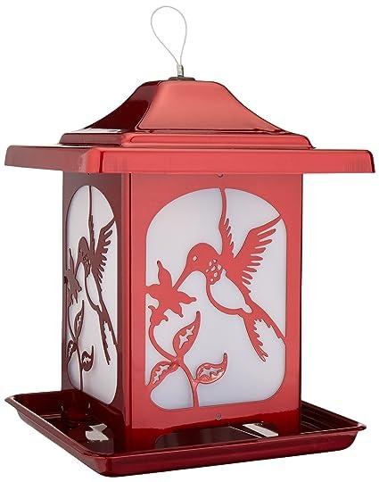 Homestead Hummingbird Frosted Glass Bird Feeder (Jolly Pop Red)   4622