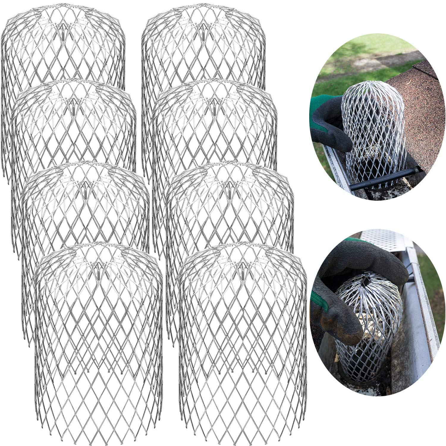 Gutter Guard Strainer 3 Inch Mesh Gutter Downspout Guard for Leaf and Rain Filter Gutter Screen Covers (8 Pack) by Boao