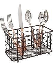 mDesign Cesta para cubiertos de metal – Organizador de cubiertos con 3 compartimentos, también apto