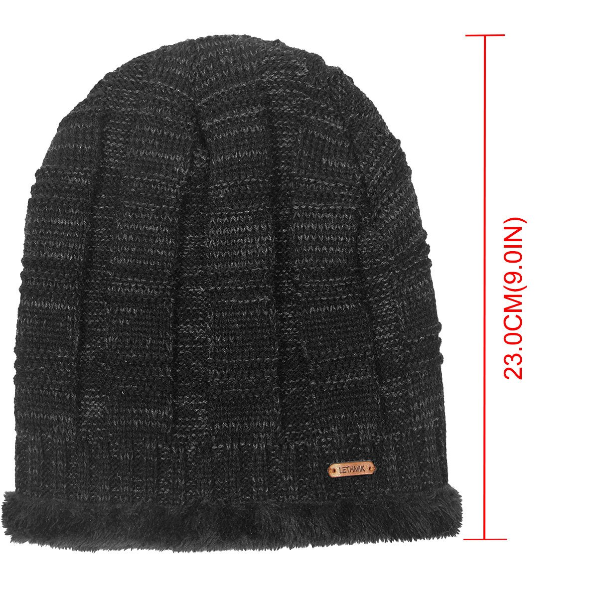 d3adf0afb95a24 LETHMIK Unique Ribbed Knit Beanie Warm Thick Fleece Lined Hat Mens Winter  Skull Cap Black at Amazon Men's Clothing store: