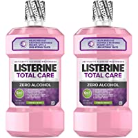 Listerine Total Care Alcohol-Free Anticavity Mouthwash, 6 Benefit Fluoride Mouthwash for Bad Breath and Enamel Strength, Fresh Mint Flavor, Twin Pack, 2 x 1 L