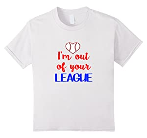 Kids Valentines Day Shirt Im Out Of Your League Baseball Heart 4 White
