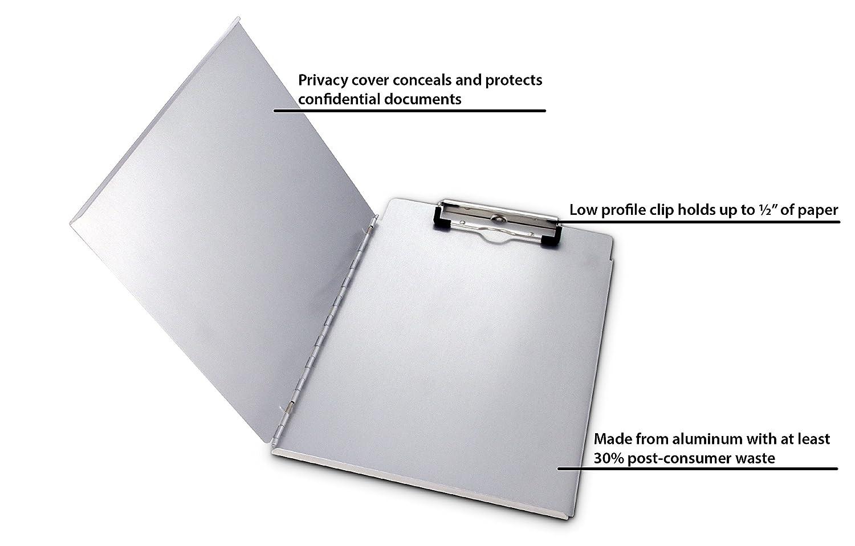 Gray mit 2 Ablagef/ächern 8.5 x 14 Inches Aluminum Saunders Cruiser-Mate II Klemmbrett aus recyceltem Aluminium