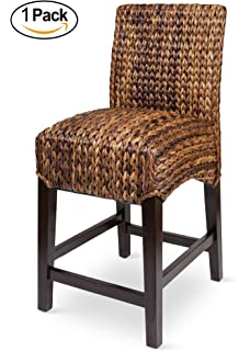 bird rock seagrass counter stool counter height hand woven mahogany wood frame