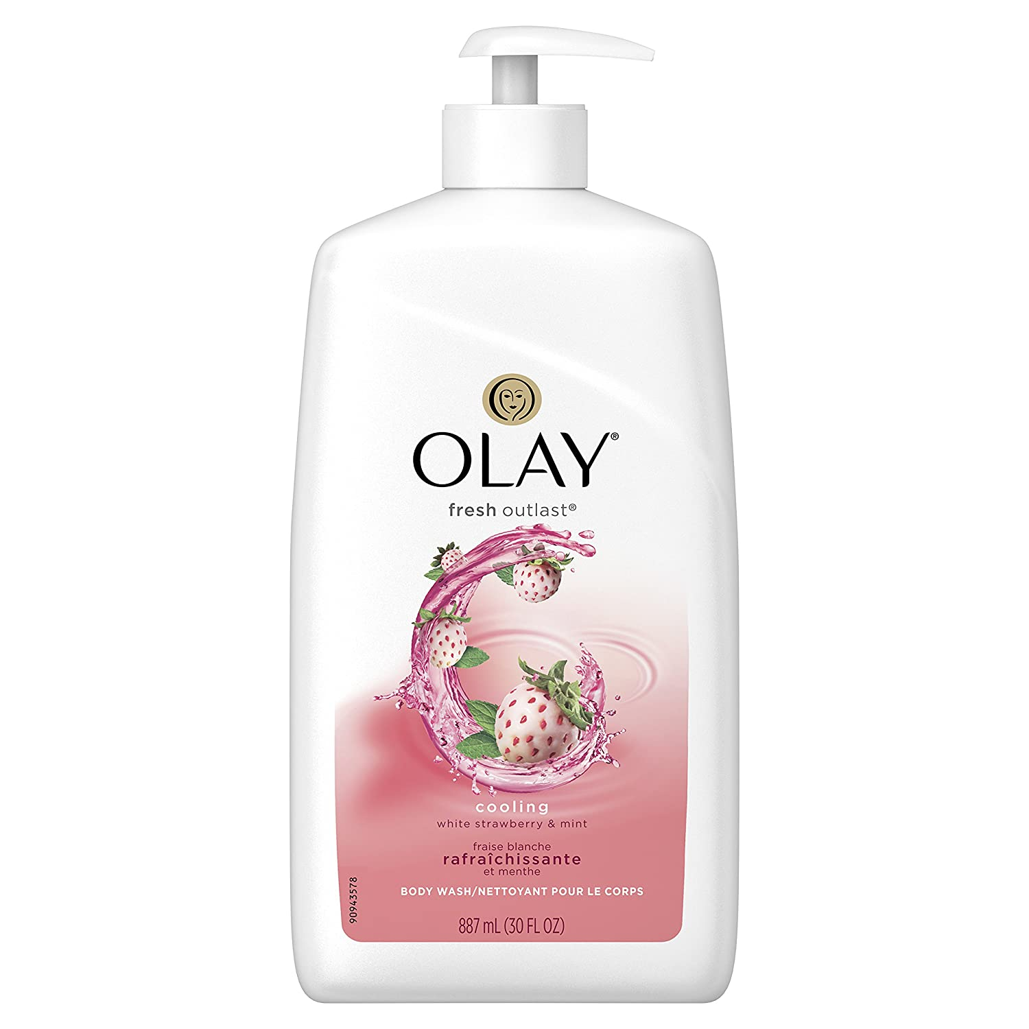 Olay Fresh Outlast Cooling White Strawberry & Mint Body Wash with Pump, 30 Fluid Ounce