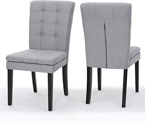 Butterfield Lucid Design Inspired Fabric Dining Chair Set of 2 Light Grey