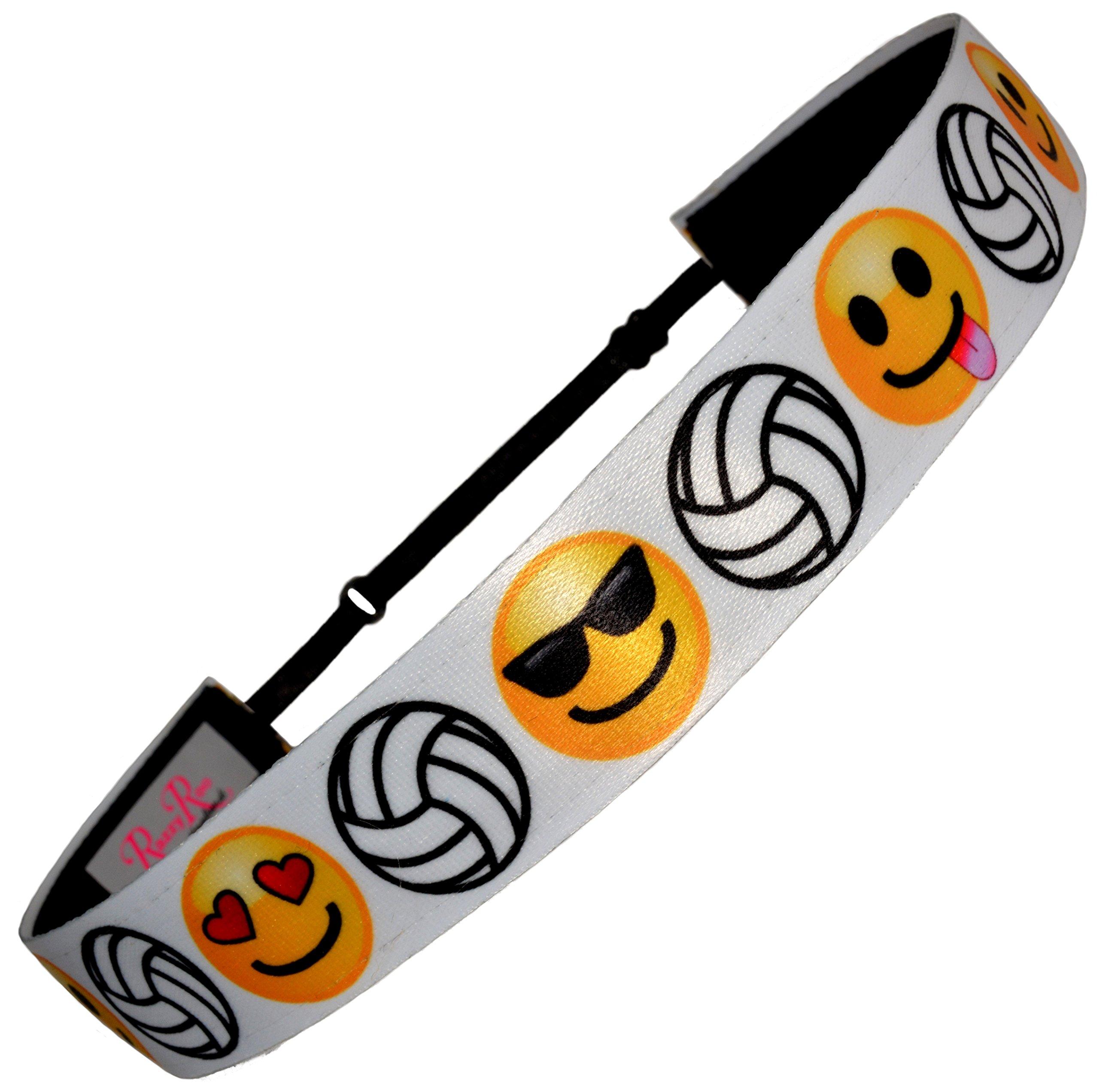 Non Slip Adjustable Headband ''Emoji Volleyball'' Smiley Faces Girls Volleyball Headband by RazzyRoo Headbands by RazzyRoo Headbands (Image #1)