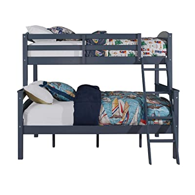 Dorel Living Brady Twin over Full Solid Wood Kid's Bunk Bed with Ladder, White