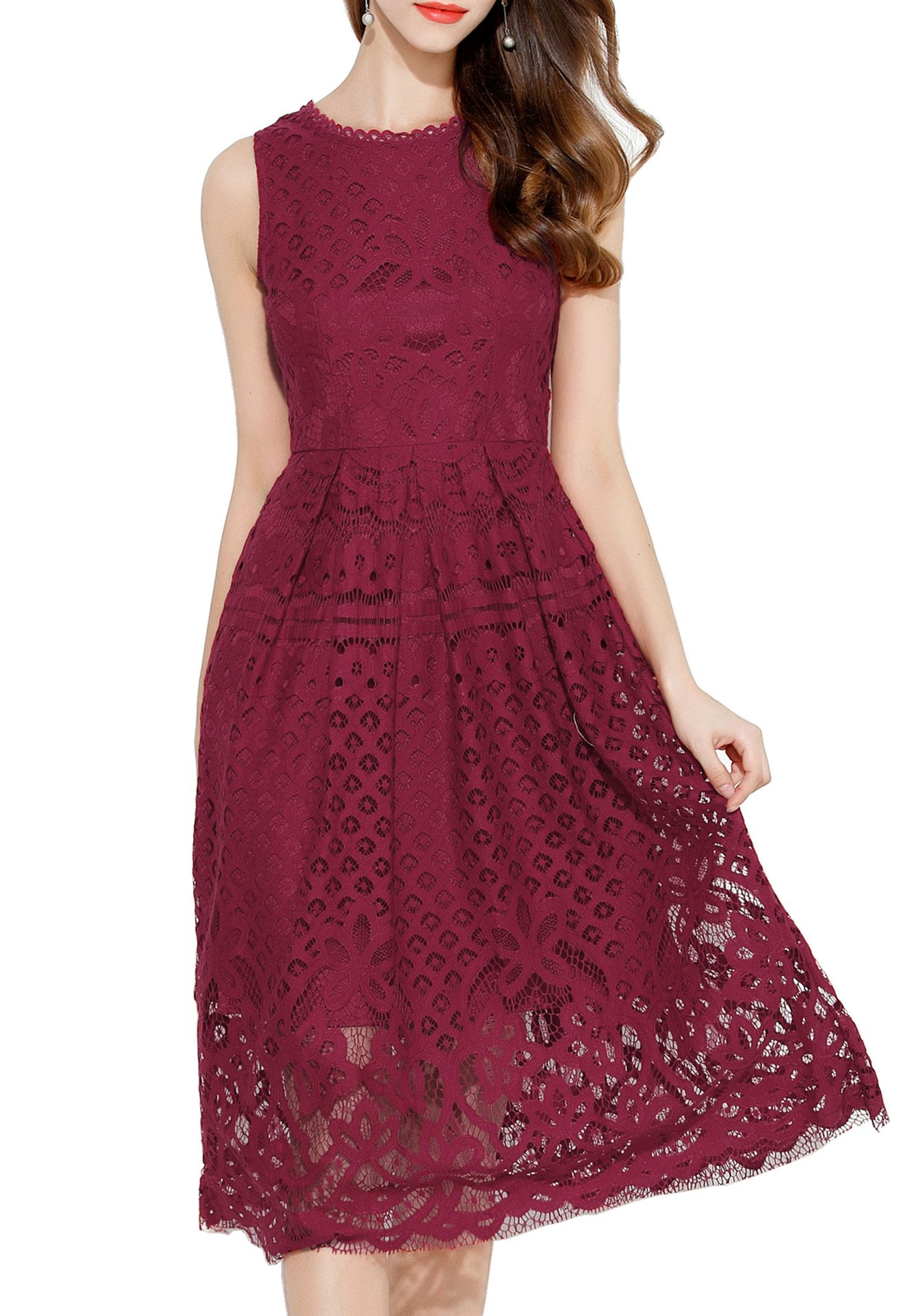 VEIIASR Womens Fashion Sleeveless Lace Fit Flare Elegant Cocktail Party Dress (X-Large, Red Wine)