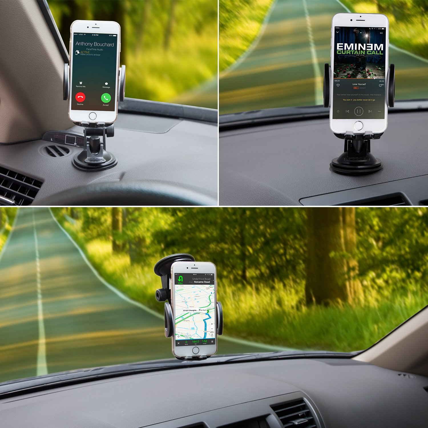 Dashboard Windshield Car Phone Holder Cradle with Quick Release Button for iPhone X 8 7 SE 6S 6 Samsung Galaxy S10 S9 S8 S7 S6 S5 Amoner Car Mount Second Generation