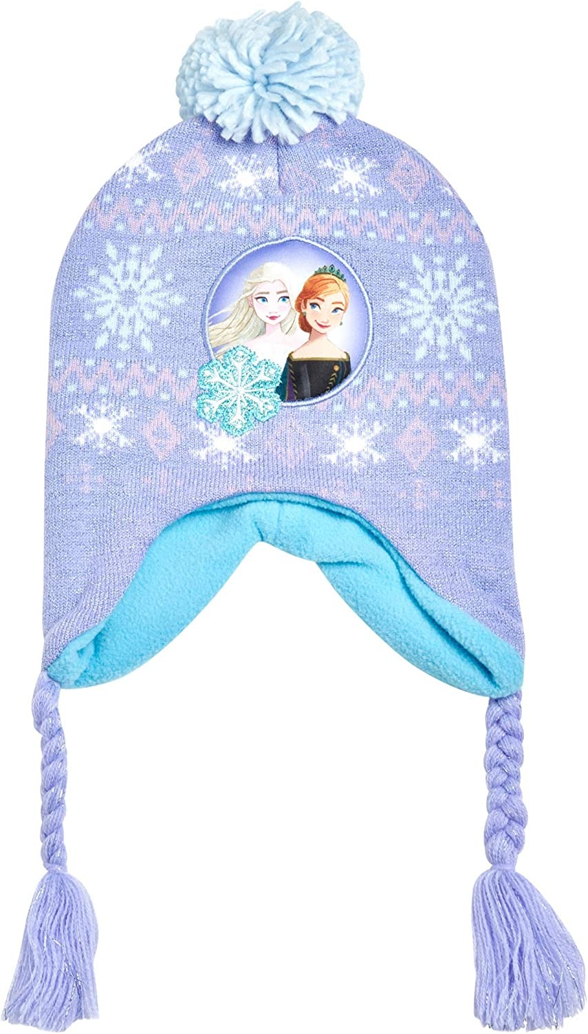 Disney Little Girls Frozen Elsa and Anna Beanie Hat and Gloves Cold Weather Set (Age 2-7): Clothing