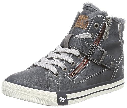 Mustang High Top Sneaker - zapatillas deportivas altas de material sintético Niños^Niñas, color azul, talla 36: Amazon.es: Zapatos y complementos