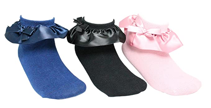 2b3d26062a3d0 3 Pairs of Girls Satin Frilly Ribbon Ankle Socks Pink Black Navy Blue:  Amazon.co.uk: Clothing
