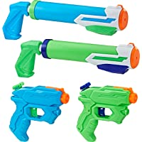 NERF Super Soaker - Floodstastic 4 Pack - 2 Alphafire and 2 Tidal Tube Water Blasters - 218ml and 295 ml Capacity - Kids Toys and Outdoor Games - Ages 6+