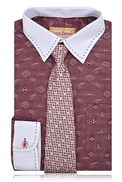 c14794e34 Amazon.com: JAMES MORGAN Boys Burgundy Paisley Dress Shirt with Hawnstooth  Tie - Sizes 8-20: Clothing