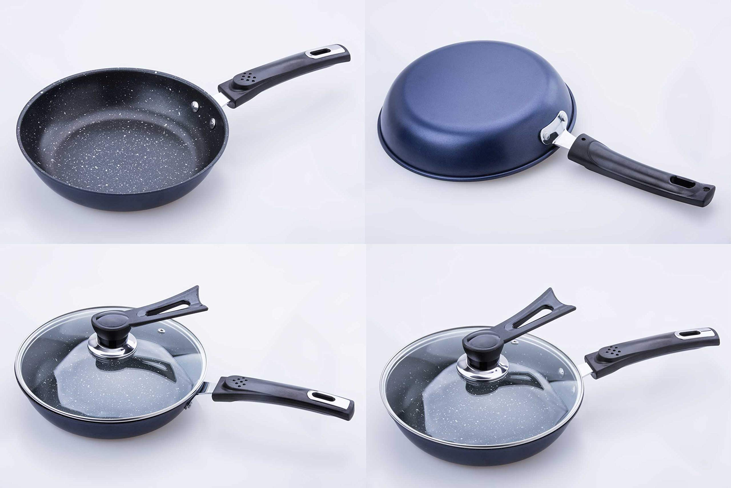 TAFOND 7 Piece Aluminum Nonstick Cookware Sets Includes Steamer insert Sauce Pot and Frying Pans with Glass lid Silicone spatula Blue