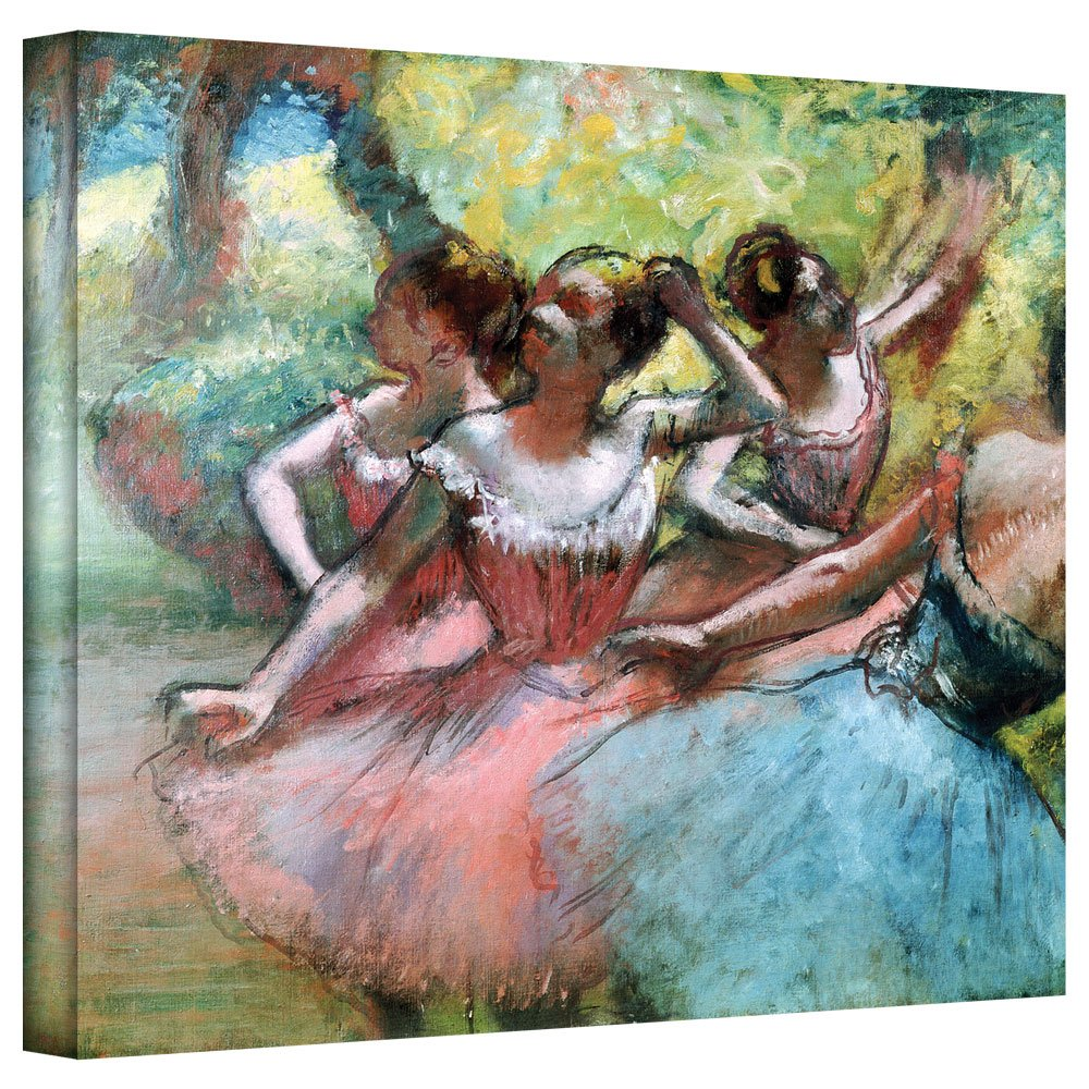 Art Wall 'Four Ballerinas on The Stage' Gallery Wrapped Canvas Artwork by Edgar Degas, 36 by 48-Inch