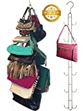 Over Door Hanging Purse Storage Organizer - Heavy Duty Chrome, Holds 50lbs, ROTATES 360 for Easy Access; Purses, Handbags, Satchels, Crossovers, Backpacks,12 Hooks, (Single)