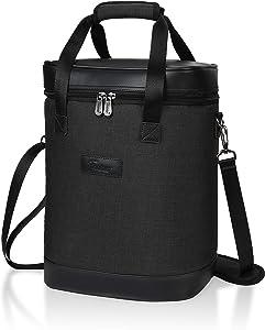 Tirrinia 6 Bottle Wine Cooler Bag - Insulated Padded Portable Versatile Wine Carrier Tote Bag for Travel, BYOB Restaurant, Wine Tasting, Party, Pecfect Gift for Wine Lover, Black