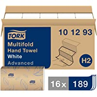 """Tork 101293 Soft Xpress Multifold Paper Hand Towel, 3-Panel, 2-Ply, 9.125"""" Width x 9.5"""" Length, White (Pack of 16)"""